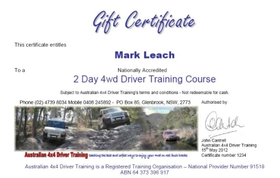 Australian 4x Driver Training Gift Certificate Image
