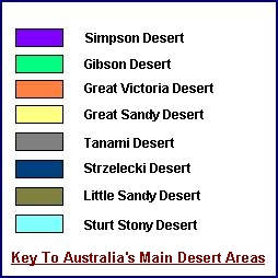 legend to the Australian 4x4 Travel Desert Locations map
