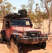Australian 4x4 Tag Along Tour Jeep on the Hay River Track Simpson desert