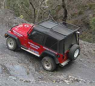 Australian 4x4 Driver Training Jeep negotiating a steep climb