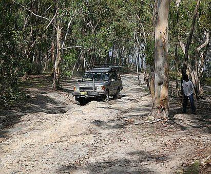Discovery on rutted track during Australian 4x4 Driver Training course