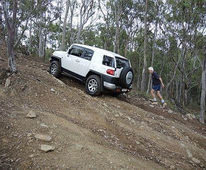 FJ Cruiser climbing hill on Australian 4x4 Driver Training Course