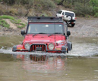 Wrangler crossing river on Australian 4x4 Driver Training Course
