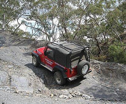 TJ Wrangler on quarry for Australian 4x4 Driver Training course