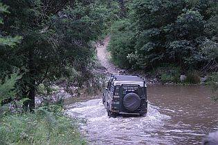 Land Rover crossing Crooked River on Australian 4x4 Tag Along Tours 4wd High Counytry Tag Along Tour