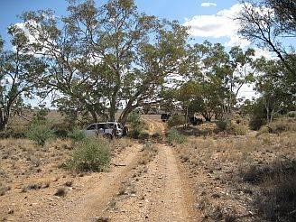 Australian 4x4 Tag Along Tours group taking a lunch break in the desert