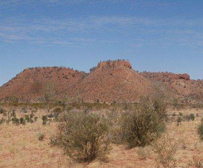 view towards mountains from Hay River Track, North Simpson Desert